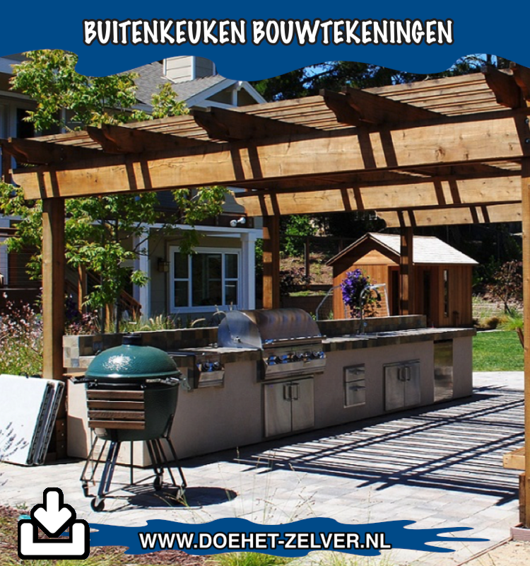Buitenkeuken meubel zelf maken van steigerhout? Download bouwtekening!